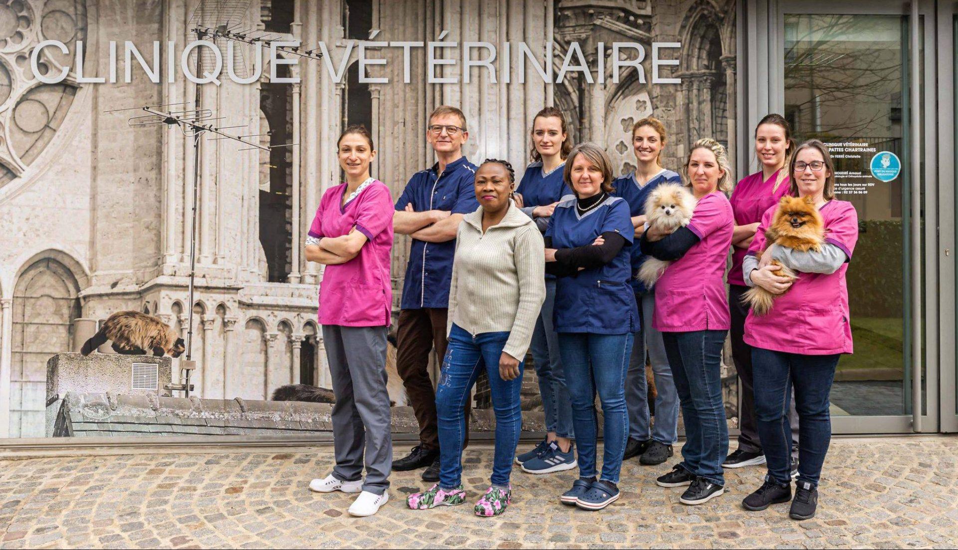 Photo de l'équipe et de la clinique vétérinaire à Chartres qui soigent vos animaux toute l'année et en urgences